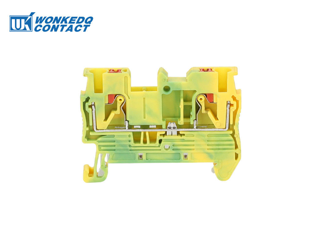 JPT 2.5-PE Push Fit Grounding Terminal Block Connector 31A Rated Current 24-12 AWG Conductor Size Green and Yellow