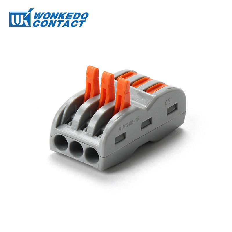 222-413 Replace 3 Pole Quick Push In Connectors For Electrical Wiring With Operating Levers Nylon PA66 Material