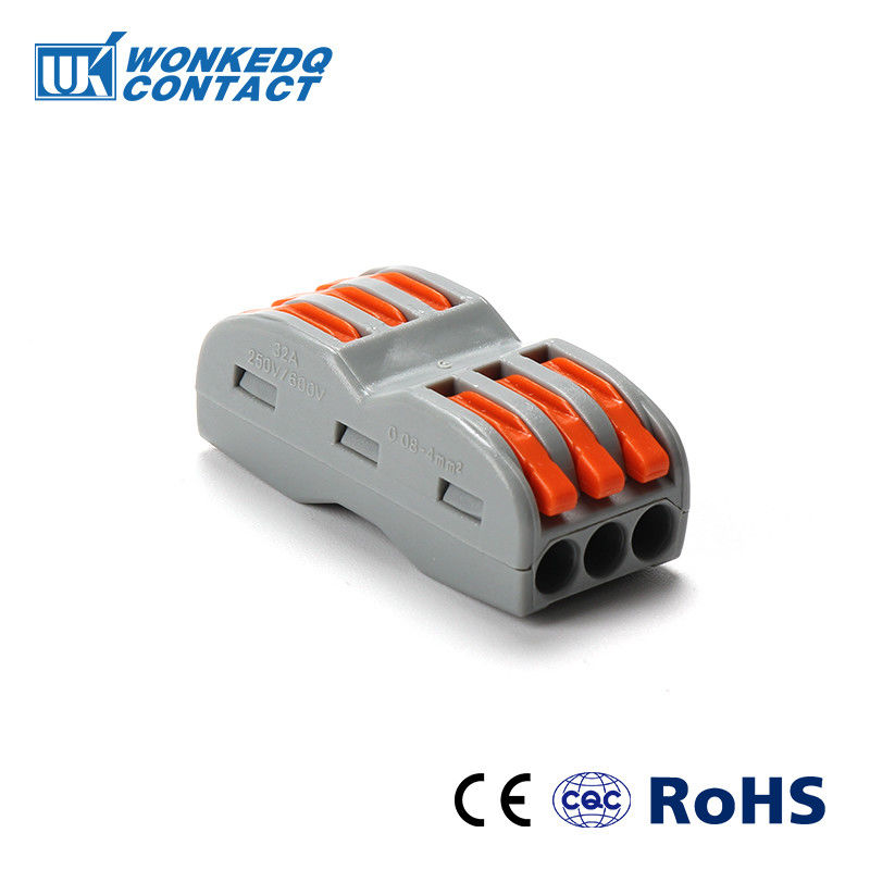 2.5mm2 3 Poles Terminal Block Push In Wire Connectors